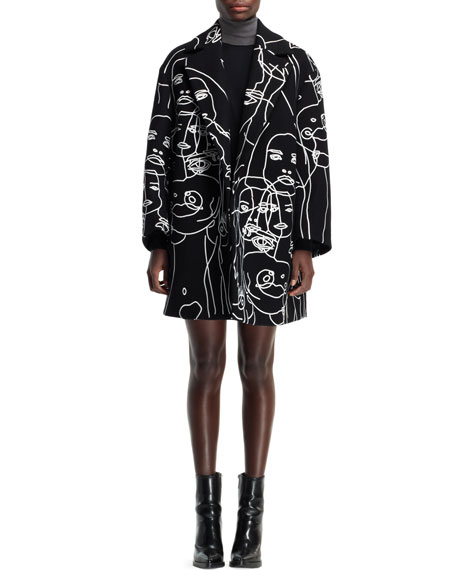 Embroidered Swing Coat, Black/Ivory