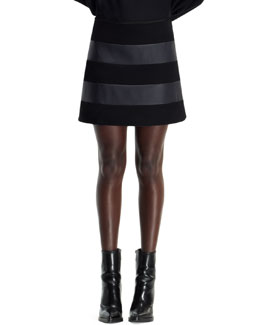 Stella McCartney Wool & Faux-Leather Striped Skirt, Black