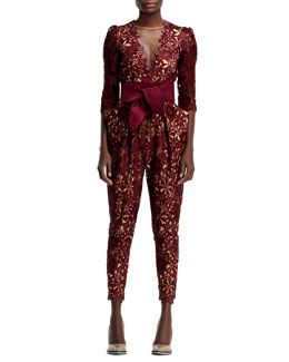 Stella McCartney Half-Sleeve Flower Lace Jumpsuit, Burgundy