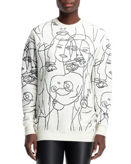 Stella McCartney Quilted Women Scribbled Sweatshirt, Chalk