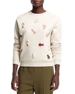 Stella McCartney Embroidered Novelty Applique Sweatshirt, Natural