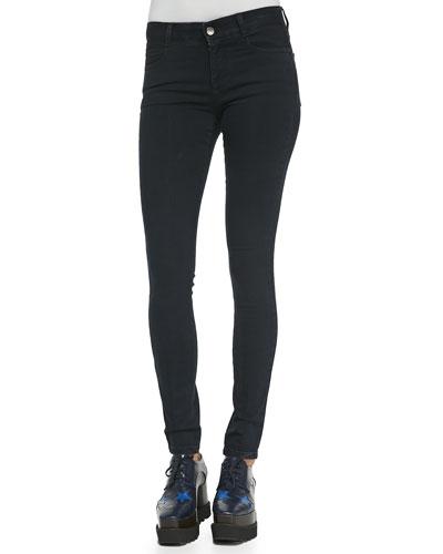 Long Skinny Black Denim Jeans, Blue-Black