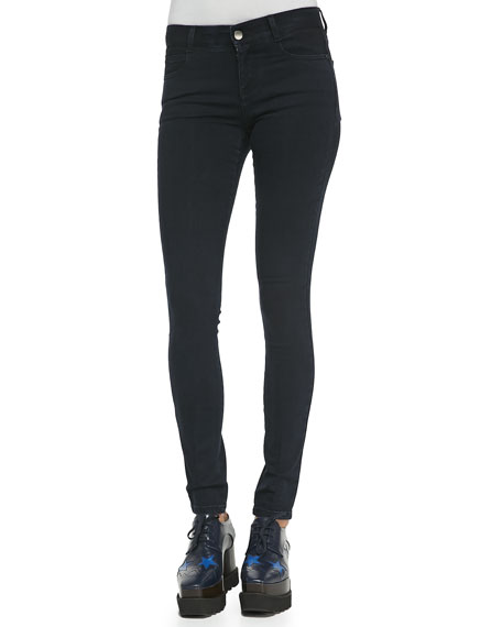Stella McCartney Long Skinny Black Denim Jeans, Blue-Black