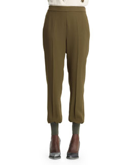 Stella McCartney Julia Stretch Cady Cuff-Ankle Harem Pants, Loden
