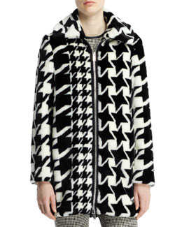 Stella McCartney Houndstooth-Print Faux-Fur Coat, Black/White