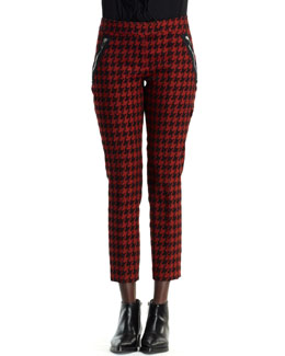 Stella McCartney Zip-Trim Houndstooth Pants, Dark Orange