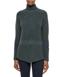 Stella McCartney Turtleneck Sweater with Slit Sleeves, Slate Blue