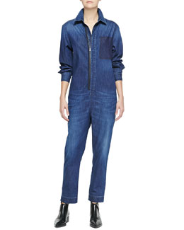 Stella McCartney Kieran Zip-Front Denim Jumpsuit