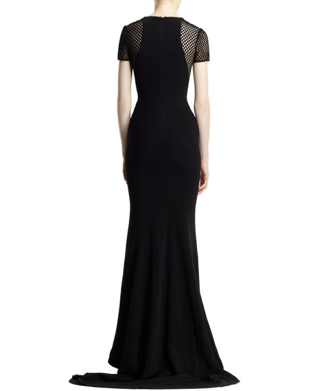 Belindra Wicker-Sleeve Stretch Cady Gown, Black
