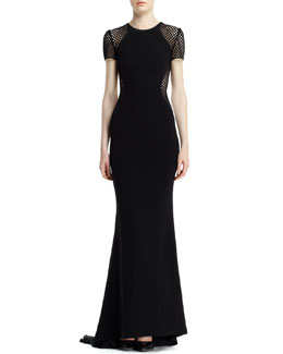 Stella McCartney Belindra Wicker-Sleeve Stretch Cady Gown, Black