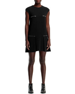 Stella McCartney Gisella 4-Zip Stretch Cady Dress, Black