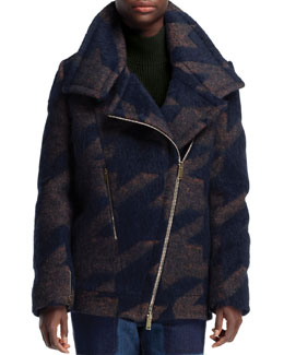 Stella McCartney Exploded Houndstooth Coat, Ink/Multi