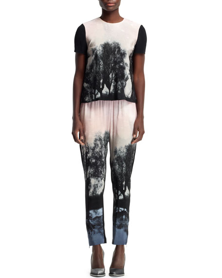 Fireworks Hampstead Printed Pants, Black/Blush/Multi