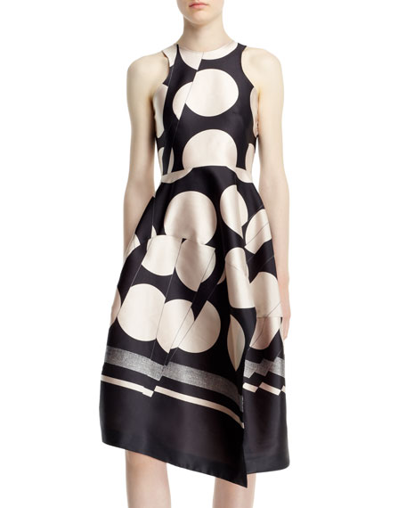 Folded Dot Jacquard Dress, Black/Ivory