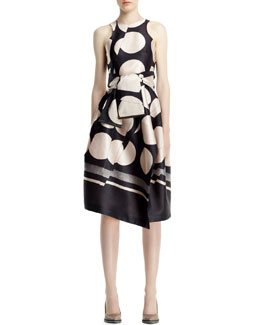 Stella McCartney Folded Dot Jacquard Dress, Black/Ivory