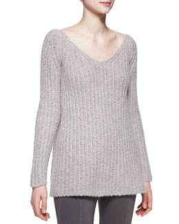 Donna Karan Long-Sleeve V-Neck Sweater