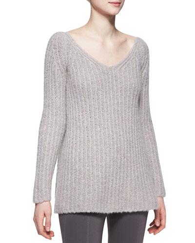 Donna Karan Long-Sleeve V-Neck Sweater