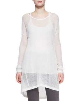 Donna Karan Easy Long-Sleeve Cashmere Tee, Ivory