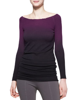 Donna Karan Long-Sleeve Asymmetric Ombre Cashmere Tunic
