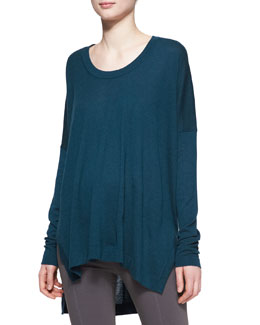Donna Karan Long-Sleeve Cashmere Poncho Top