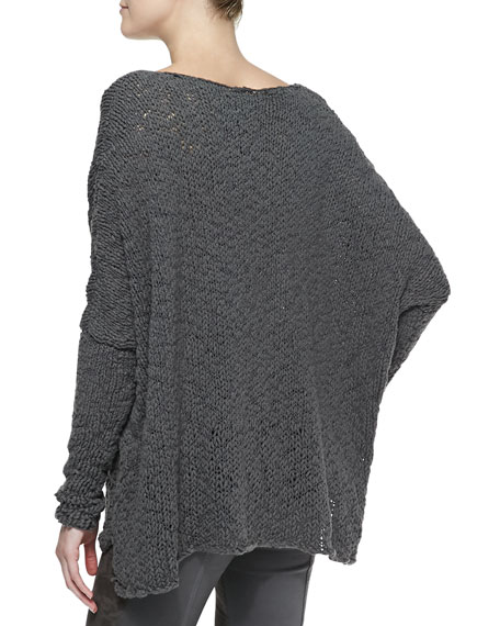 Long-Sleeve Knit Poncho Top