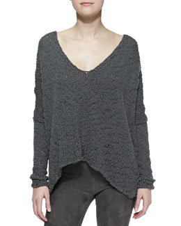 Donna Karan Long-Sleeve Knit Poncho Top