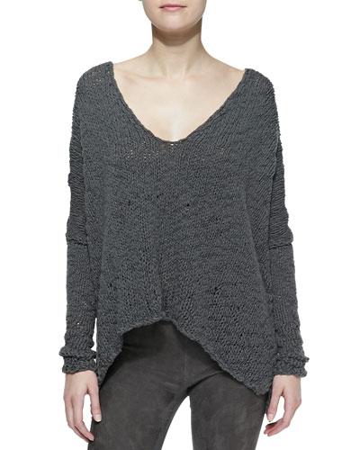 Donna Karan Long-Sleeve Knit Poncho Top