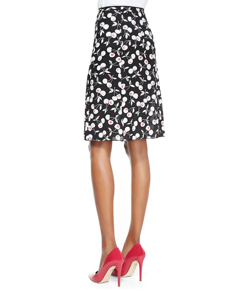 Pleated Cherry-Print A-Line Skirt