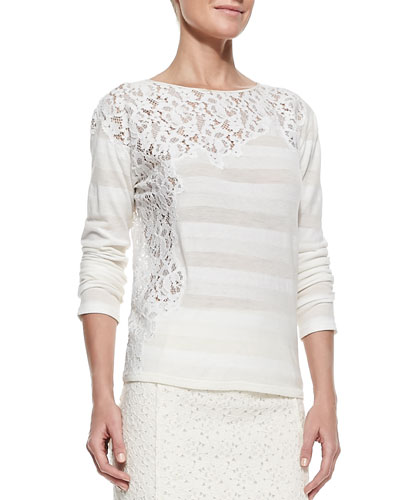 Nina Ricci Striped Crewneck Top with Lace