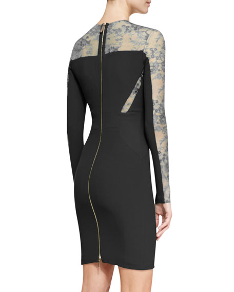 Long-Sleeve Lace-Inset Cocktail Dress, Black