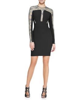 Elie Saab Long-Sleeve Lace-Inset Cocktail Dress, Black