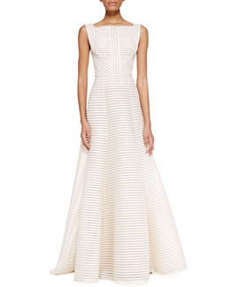 Elie Saab Sleeveless High-Neck Gown, Jasmine White