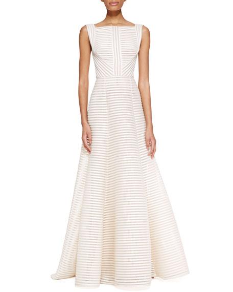 Sleeveless High-Neck Gown, Jasmine White