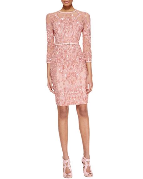 3/4-Sleeve Beaded Embellished Dress, Blush