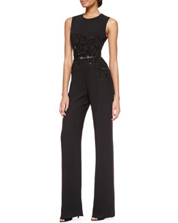 Elie Saab Sleeveless Embellished Jumpsuit, Black