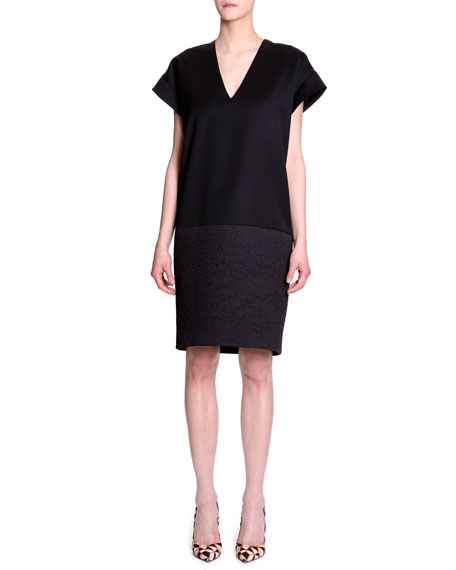 Fabric-Block Cap-Sleeve Dress