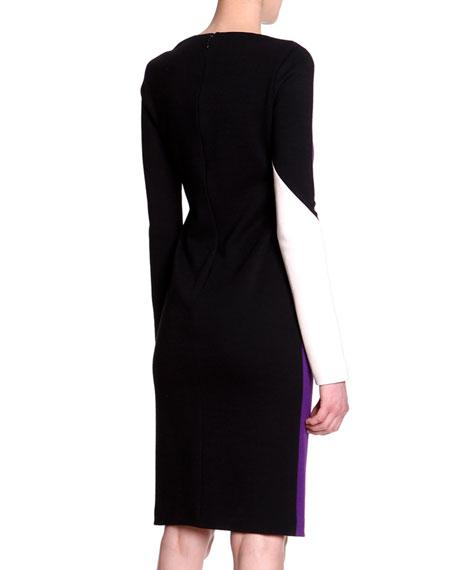 Long-Sleeve Colorblock-Print Dress