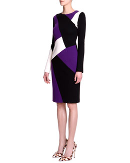 Fausto Puglisi Long-Sleeve Colorblock-Print Dress