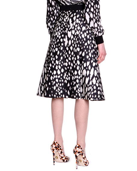 Animal-Print Twill A-Line Skirt