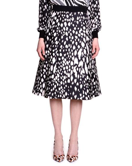 Animal-Print Twill A-Line Skirt
