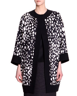Fausto Puglisi Animal-Print Long Silk Jacket