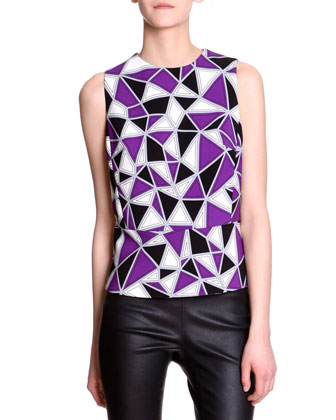 Sleeveless Geometric-Print Top