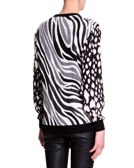 Mixed-Animal-Print Knit Sweater