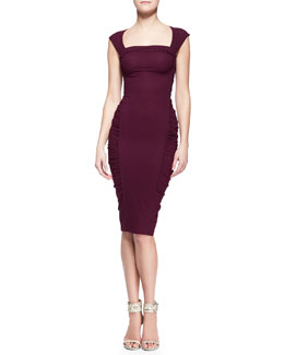 Donna Karan Crushed Cap-Sleeve Sheath Dress