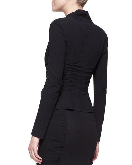 Long-Sleeve Crushed Cardigan Jacket, Black