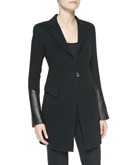 Long Jacket with Leather Cuffs