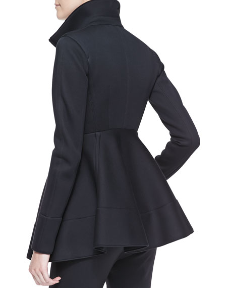 Peplum Zip Jacket with Leather Detail