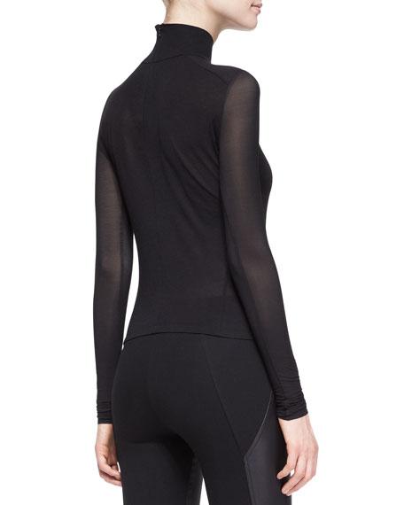 Sheer-Sleeve Turtleneck Top, Black