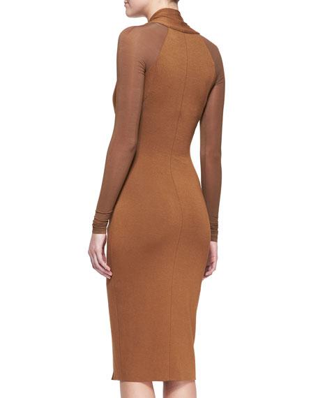 Cool Jersey Draped Long-Sleeve Dress