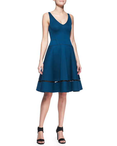 A-Line Cocktail Dress with Sheer Inset